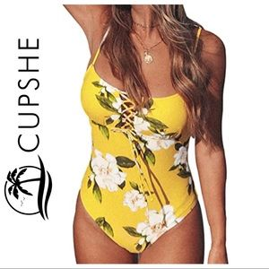 Cupshe Yellow Floral Print One-Piece Swimsuit